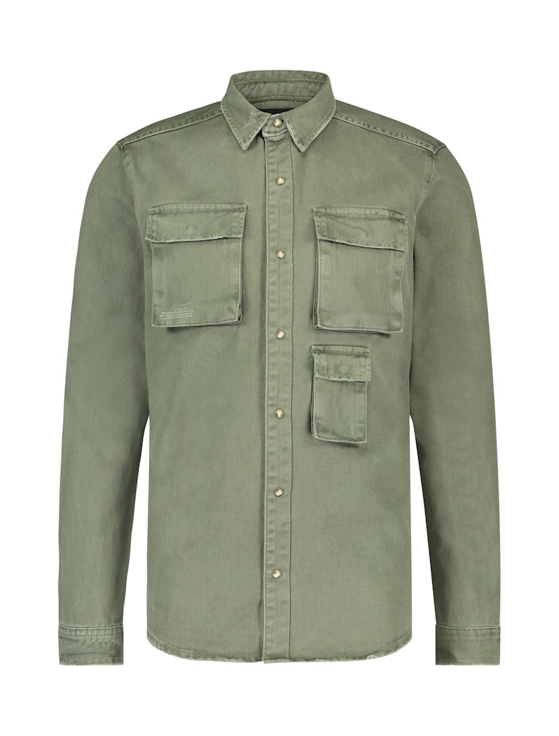 Pure White Pure White 20030210 Denim Shirt Army Green