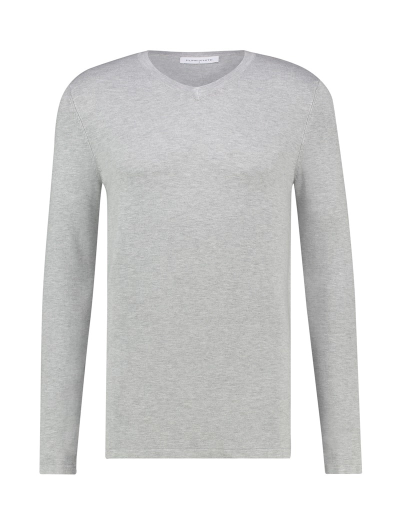 Pure White Pure White Essential V-Neck Knit Grey