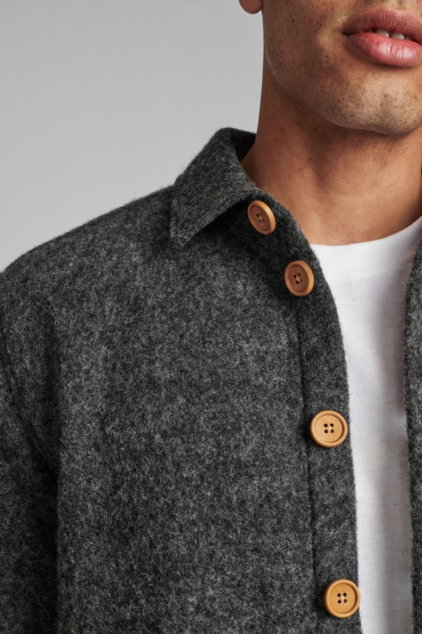Anerkjendt Anerkjendt AkOtto Boiled Wool Overshirt Grey