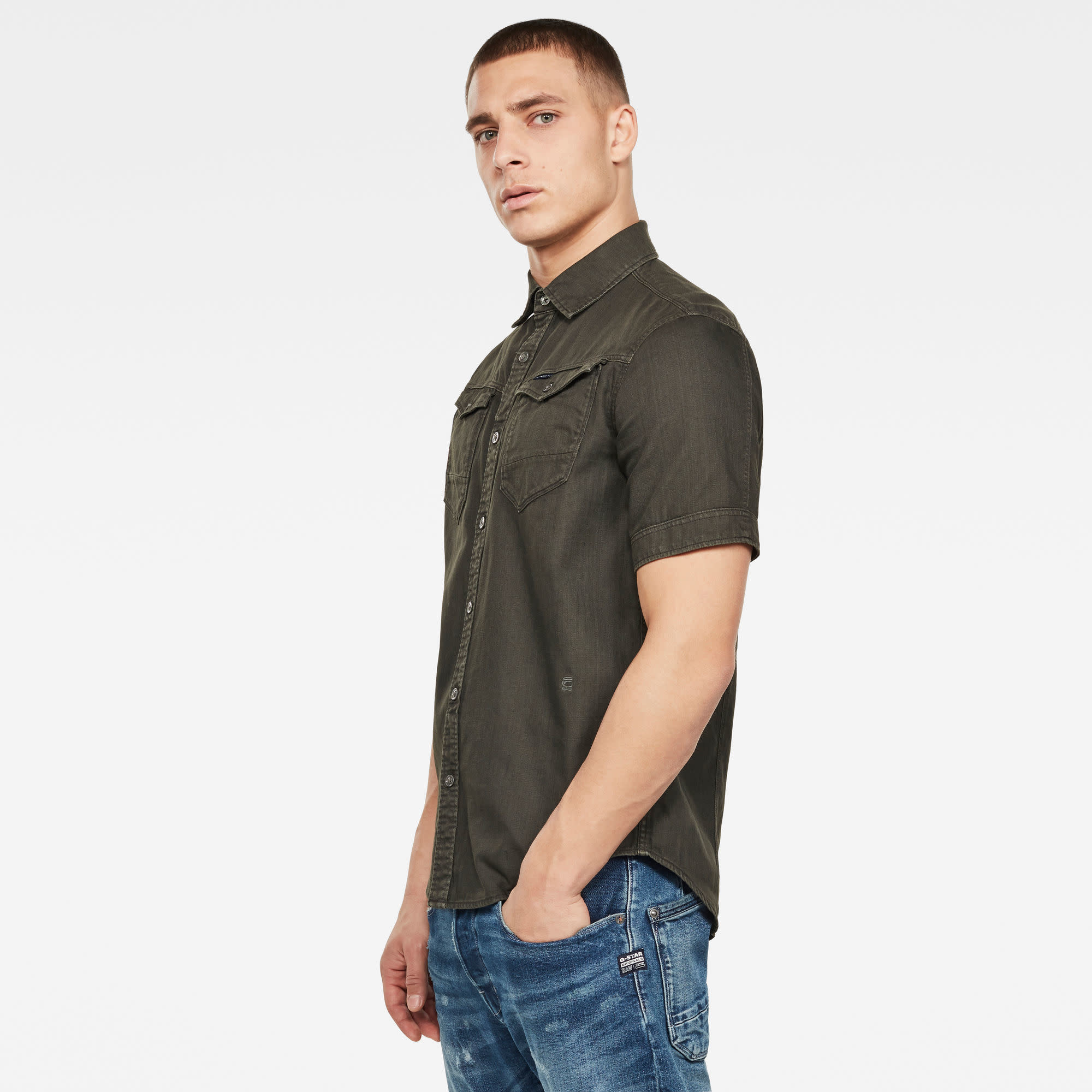G-Star G-Star Arc 3D Slim S/S Shirt 7647-995 Asfalt Green