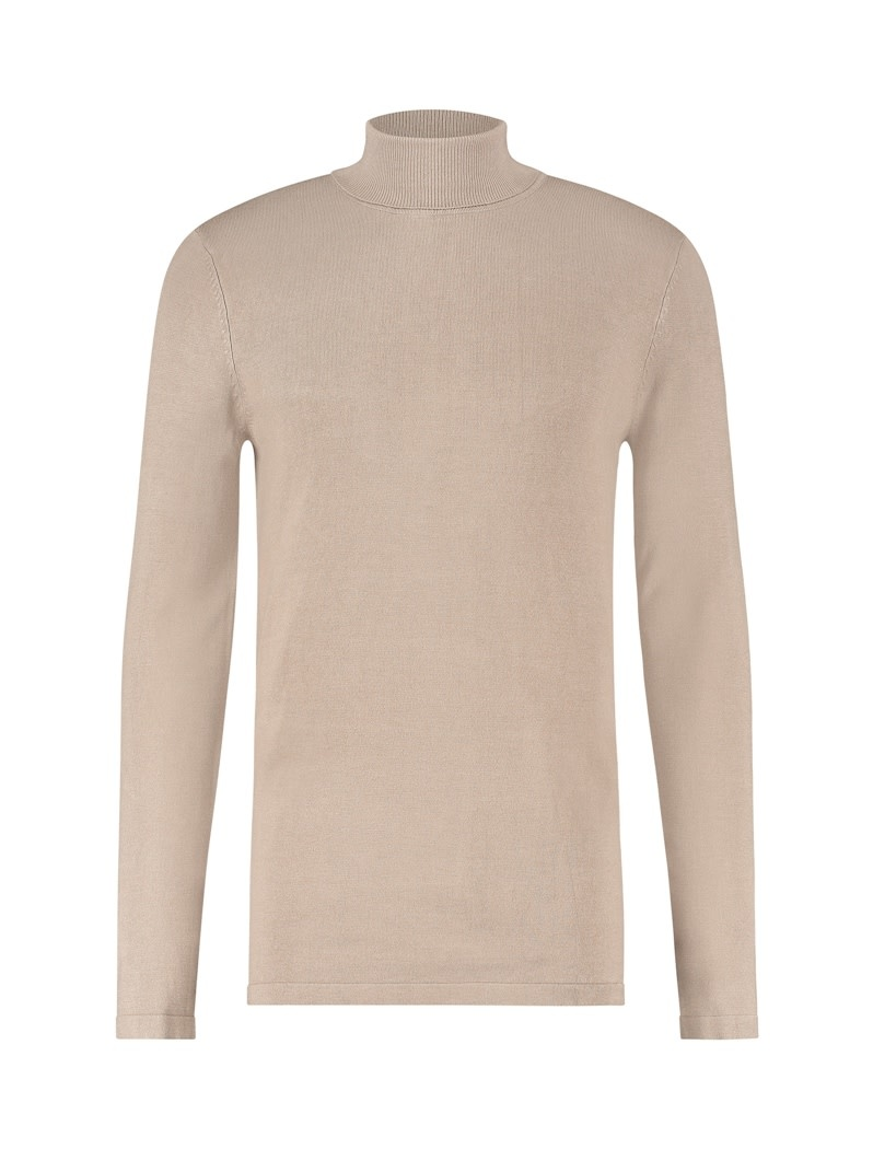 Pure White Pure White 20040802 Turtleneck Coll Knit Taupe