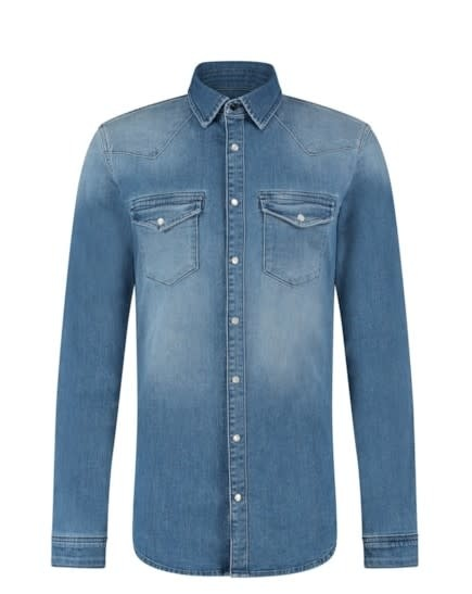 Purewhite Pure White 21010224 Stretch Denim Shirt Mid Blue