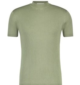 Purewhite Pure White 21010823 Knitted Coll Tee Light Army Green