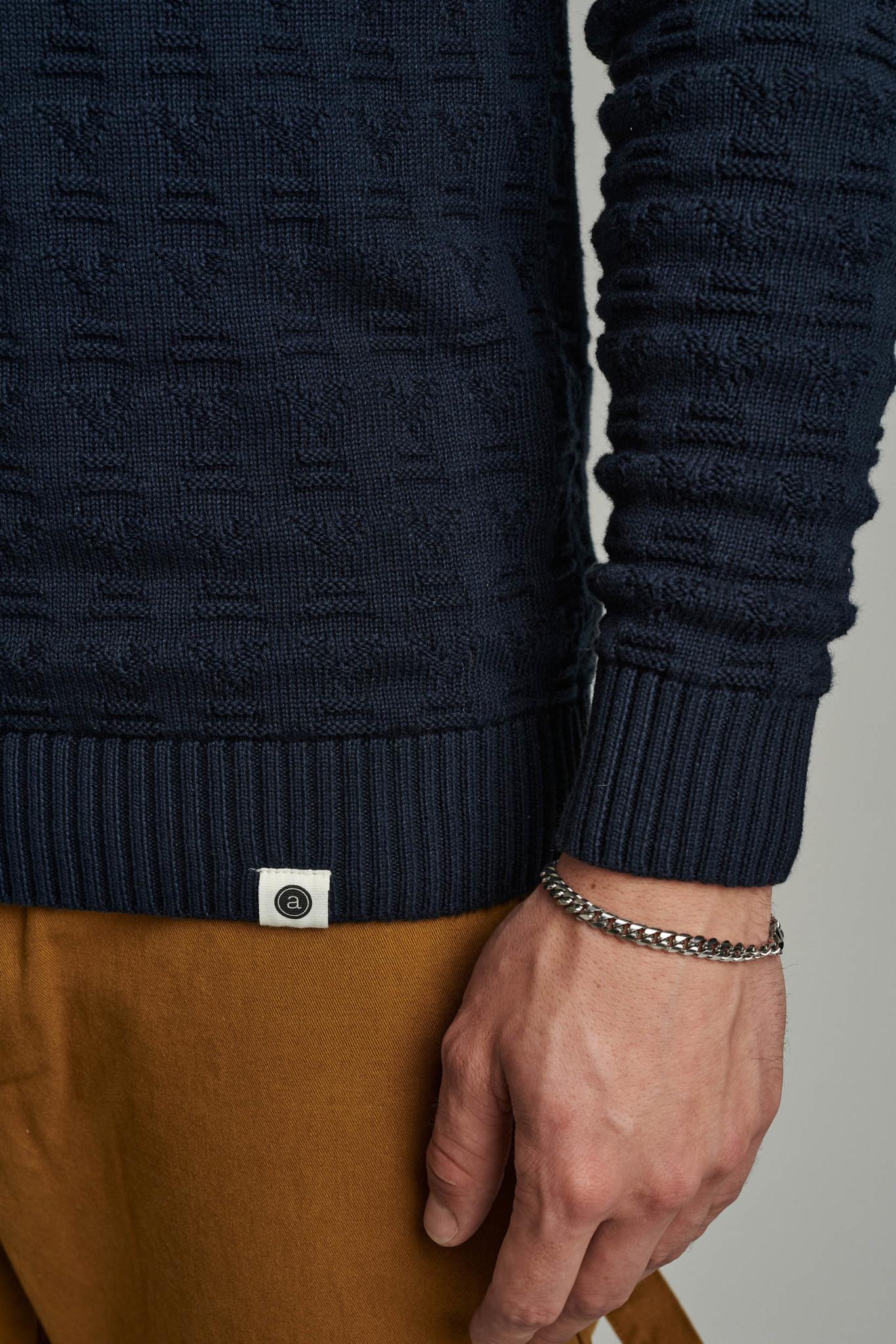 Anerkjendt Anerkjendt Aknico Jacquard Knit 900196 Sky Captain Dark Blue