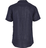 Kronstadt Kronstadt Cuba Linen Striped S/S Shirt Navy