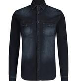 Purewhite Pure White 21030219 Stretch Denim Shirt Dark Blue