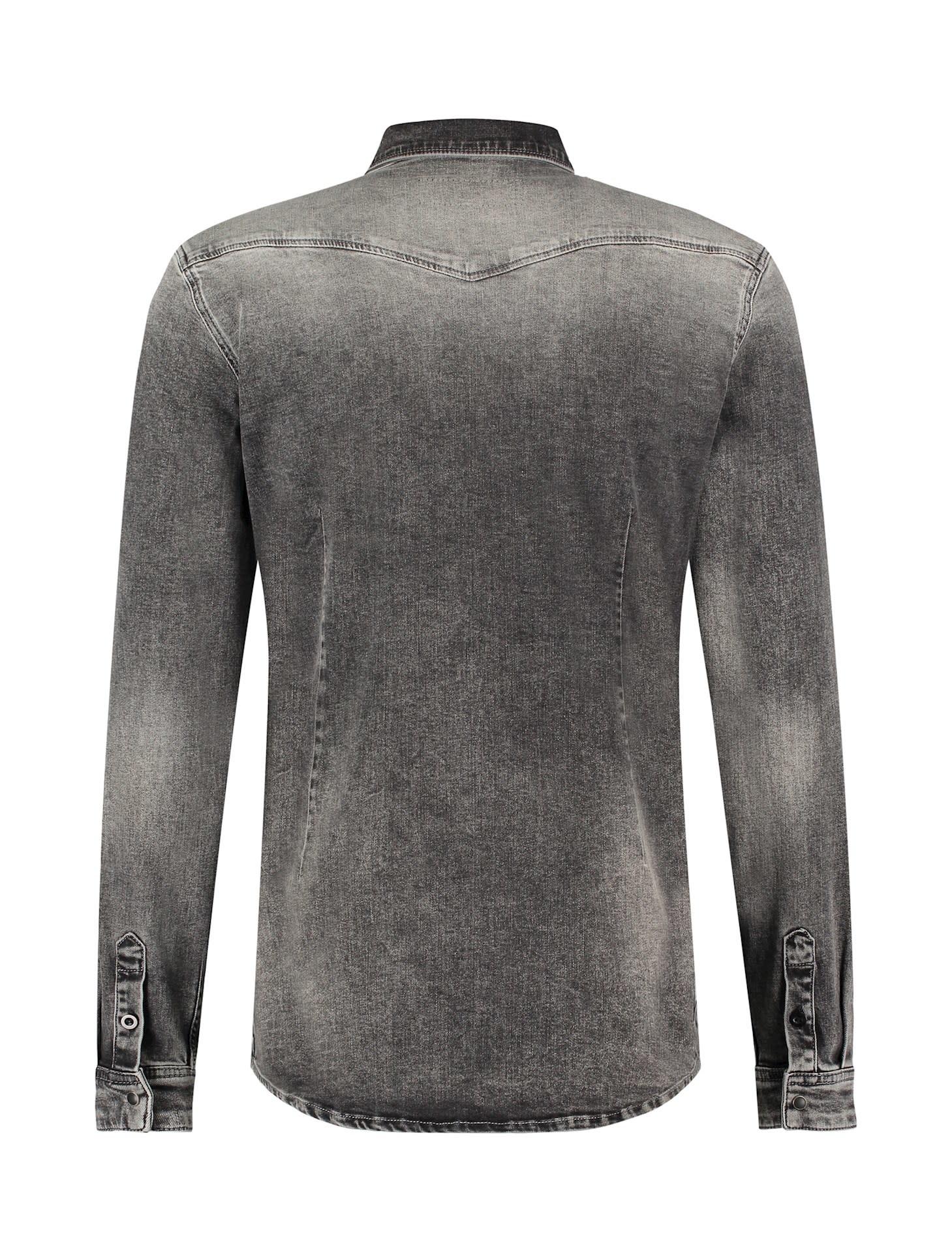 Purewhite Pure White 21030219 Stretch Denim Shirt Dark Grey