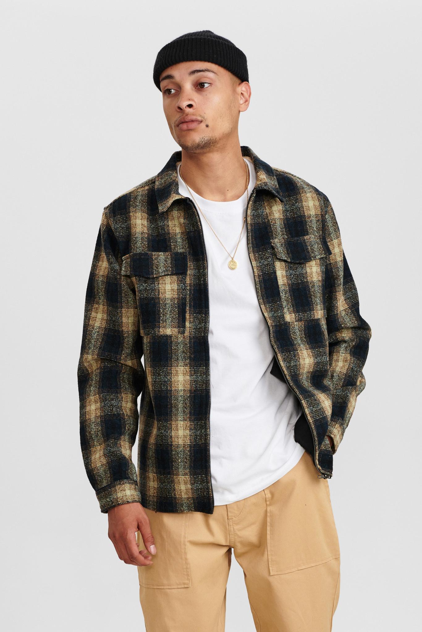Anerkjendt Anerkjendt AkHanky Wool Check Overshirt 900246 Slate Black