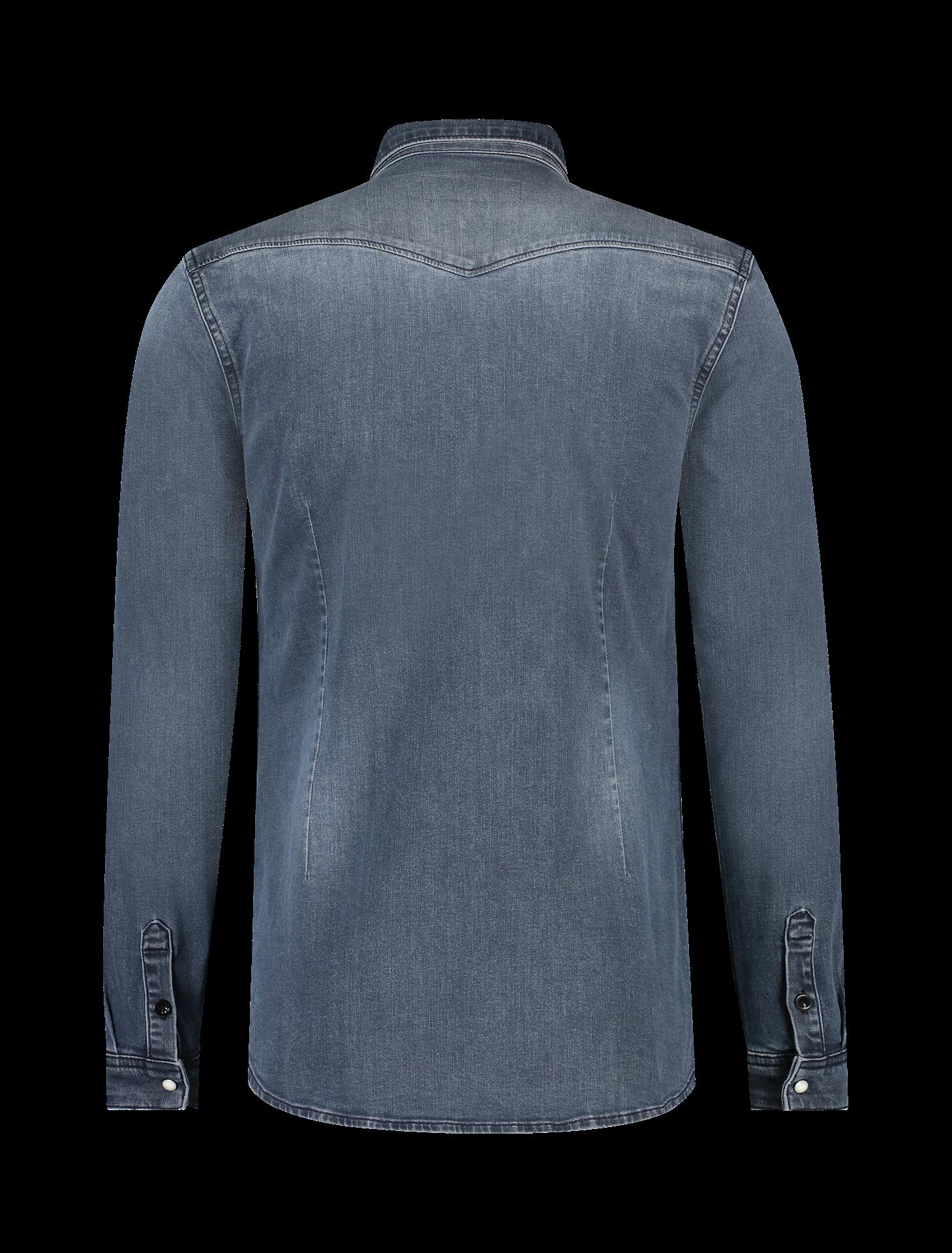Purewhite Pure White 21030219 Stretch Denim Shirt Blue Grey