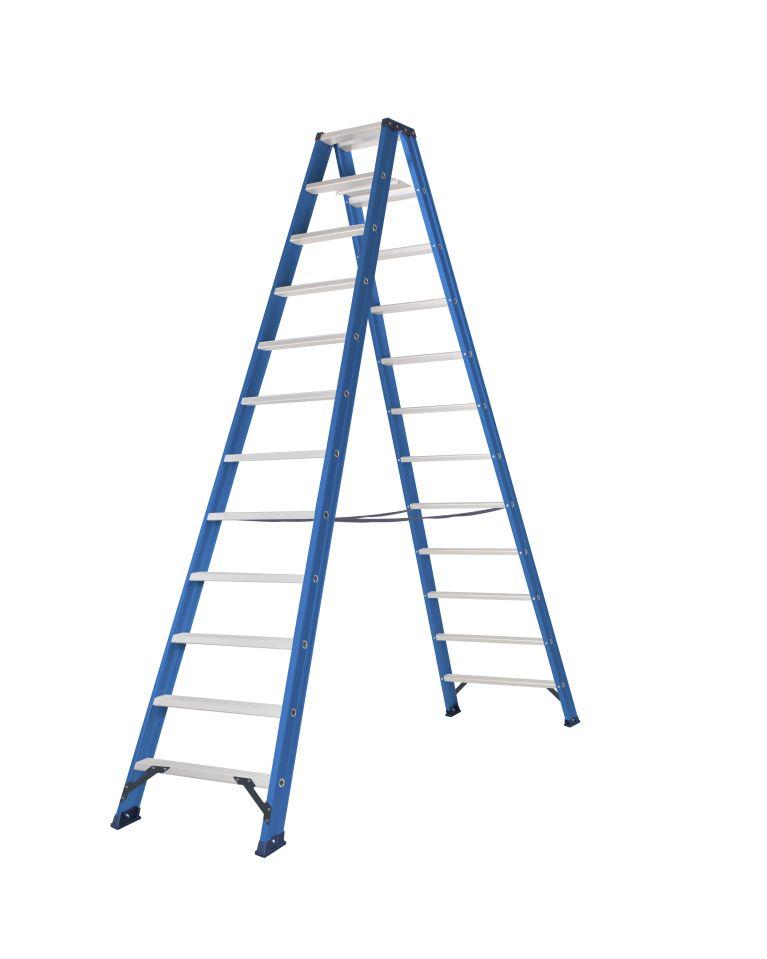 Das Ladders Das Hercules blue dubbele trap 2x12 treden