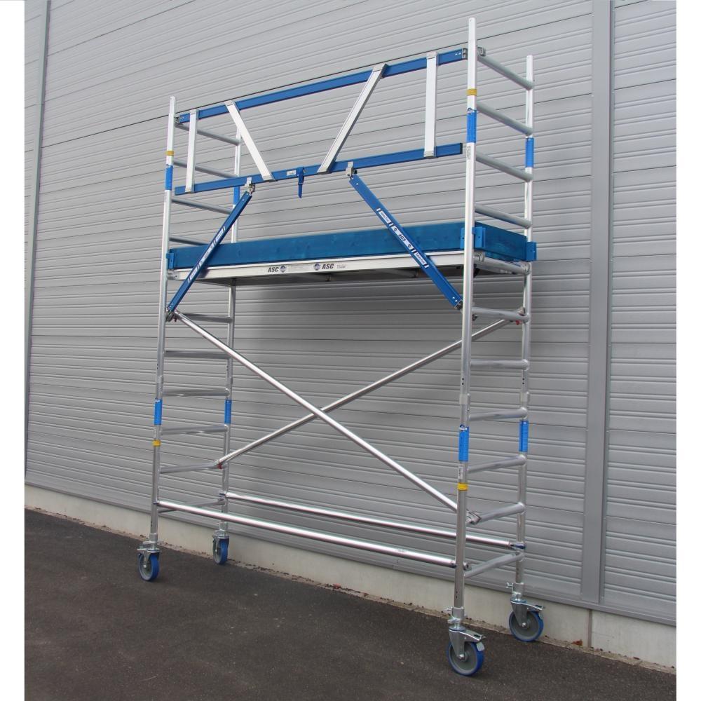 ASC Rollgerüst mit Montageschutzgeländer 75-305 x 4,2 m Arbeitshöhe