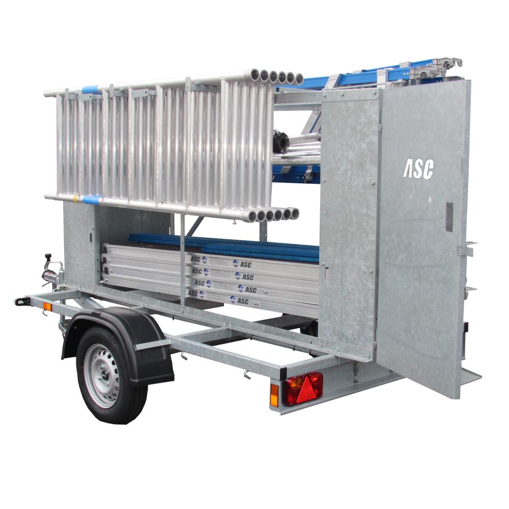 ASC Rollgerüst mit Montageschutzgeländer 75-250 x 10 m mit Anhänger