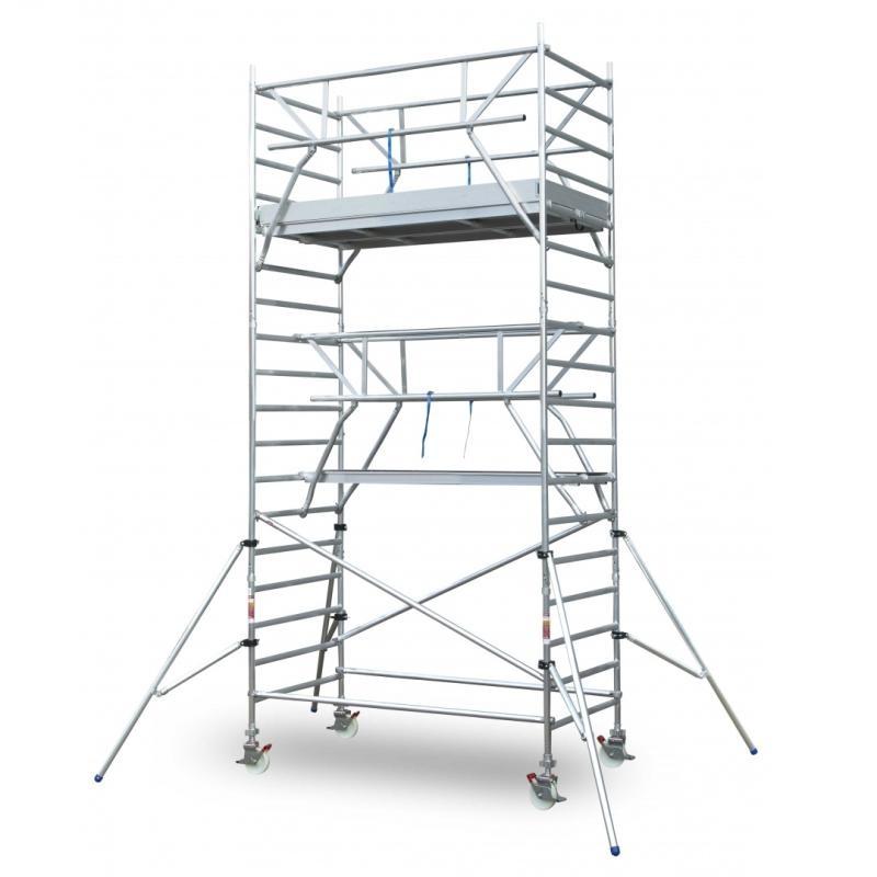 EuroScaffold Rolsteiger voorloopleuning 1,35 x 2,50 x 10 m + steigeraanhanger