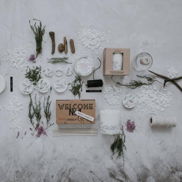 Munio Candela Heide giftbox kaars en waxschijfjes