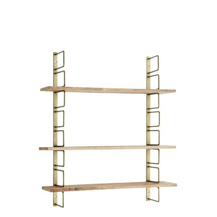 Madam Stoltz wall rack w wooden shelfs brass, 17945AB