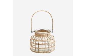 glass lantern w bamboo cane SLA4408