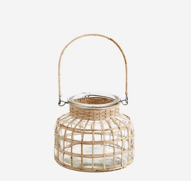 Madam Stoltz glass lantern w bamboo cane SLA4408