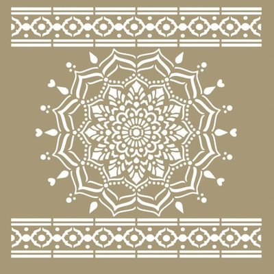 Mandala Stencils Ibiza Carpet mandala sjabloon 95 x 95 cm