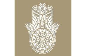Hamsa mandala sjabloon 130 x 90 cm