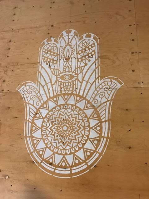 Mandala Stencils Hamsa mandala sjabloon 130 x 90 cm