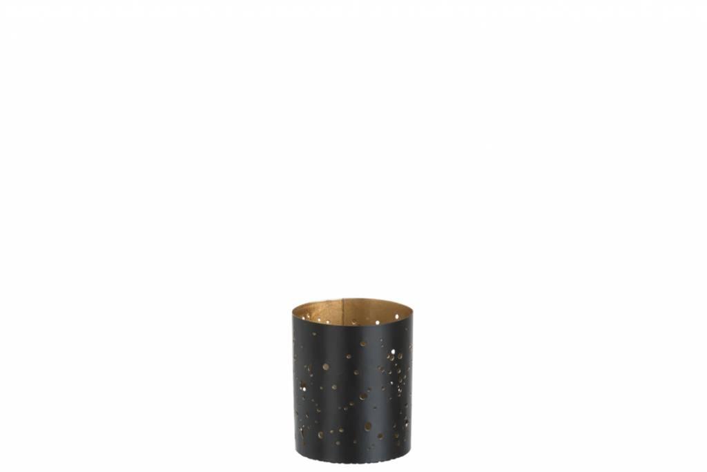 J-Line THEELICHTHOUDER METAAL ZW/GD S (6x6x8cm)