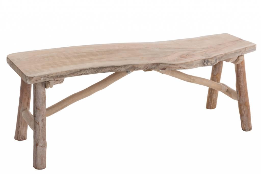 j-line bankje brut hout naturel (103x30x37cm) - maison et moi