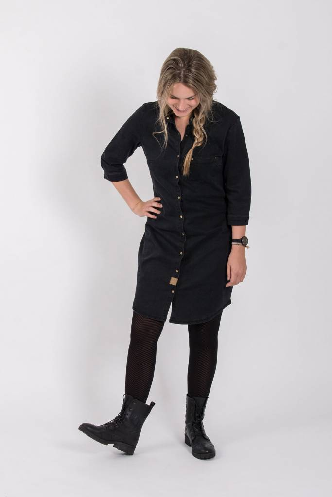 Zusss stoer spijkerjurkje off-black