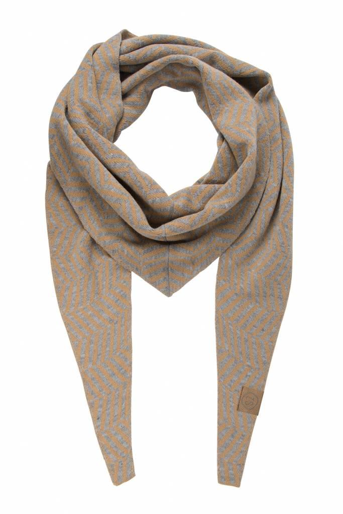Zusss puntsjaal visgraat grijs/camel