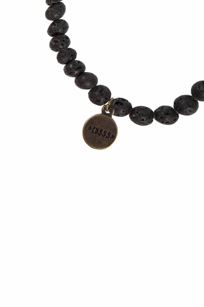Zusss grove kralenarmband zwart