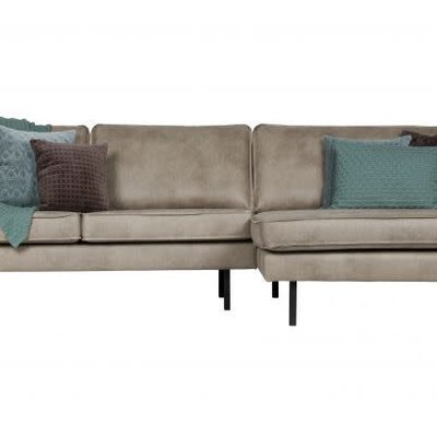 BePureHome Rodeo bank met chaise longue rechts elephant skin