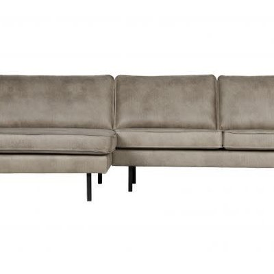 BePureHome Rodeo bank met chaise longue links elephant skin