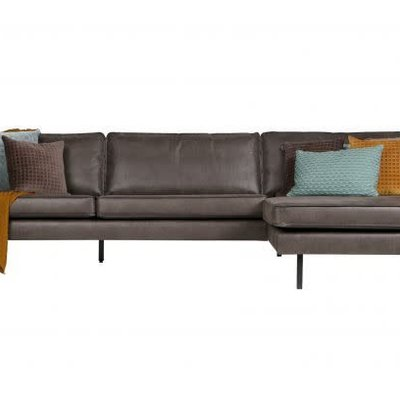BePureHome Rodeo bank met chaise longue rechts zwart