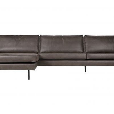 BePureHome Rodeo bank met chaise longue links zwart