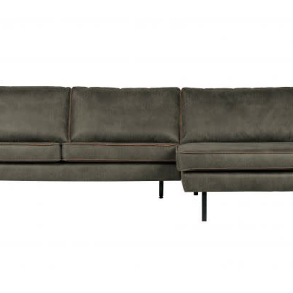 BePureHome Rodeo bank met chaise longue rechts army