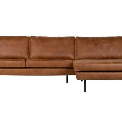 BePureHome Rodeo bank met chaise longue rechts cognac