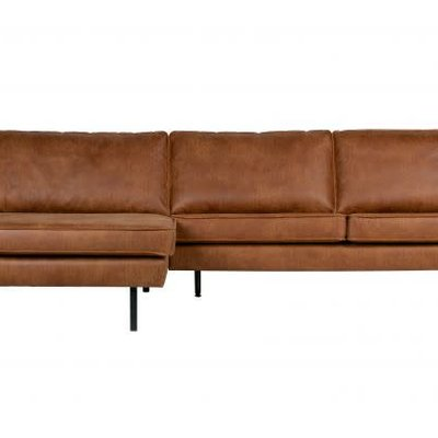 BePureHome Rodeo bank met chaise longue links cognac