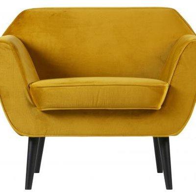 WOOOD Rocco fauteuil fluweel oker