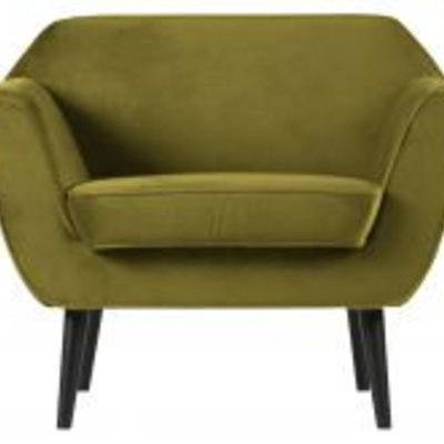 WOOOD Rocco fauteuil fluweel olive