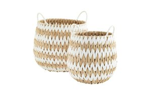 Wicker Basket w. handle Natural/White L