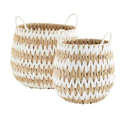 Madam Stoltz Wicker Basket w. handle Natural/White L