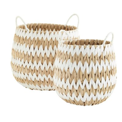 Madam Stoltz Wicker Basket w. handle Natural/White M