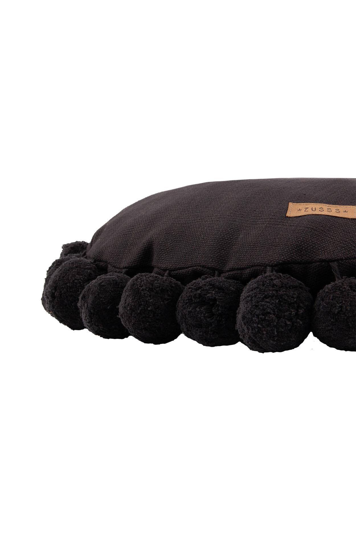 Zusss Kussen rond pompoms off-black