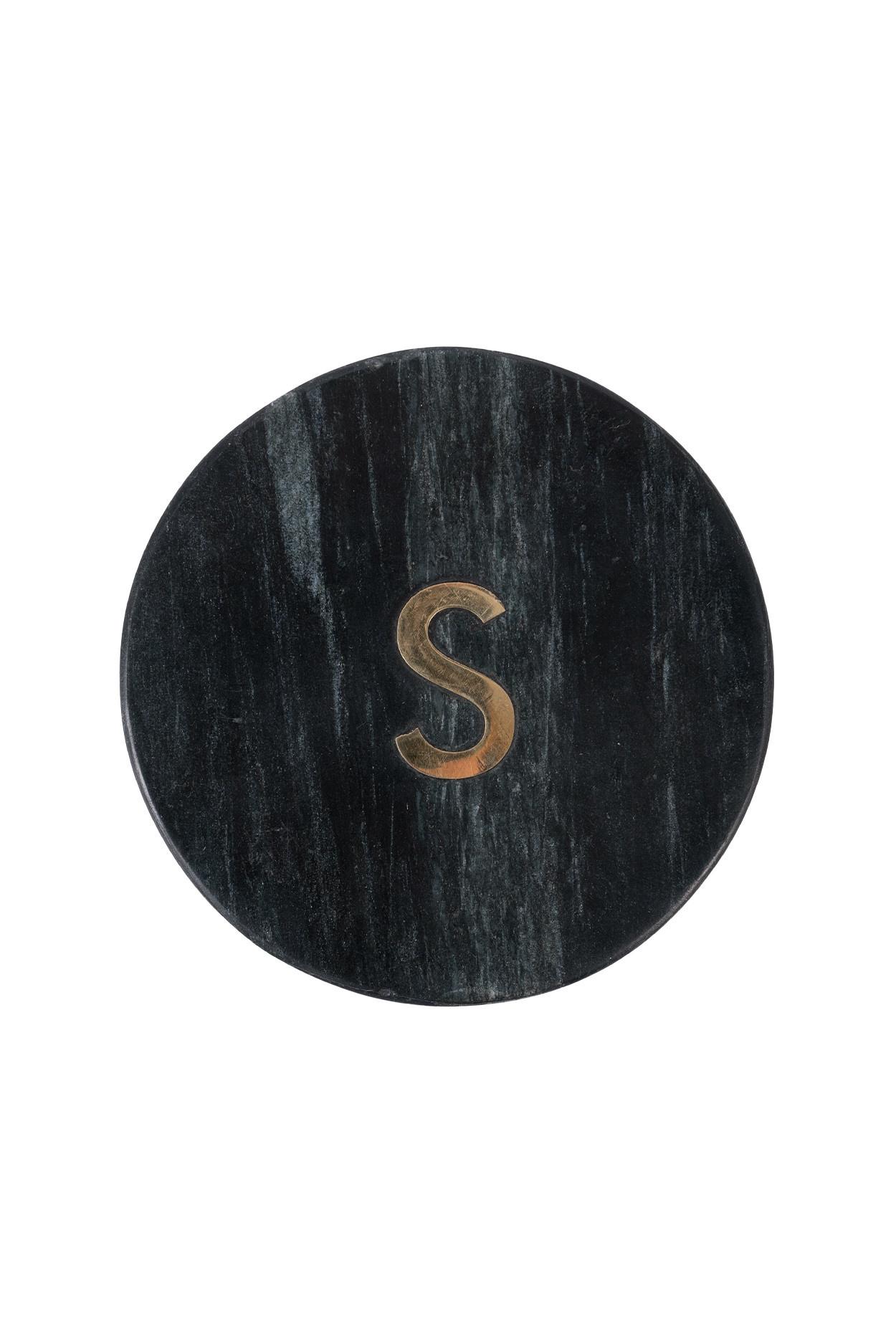 Zusss Onderzetter marmer letter S zwart