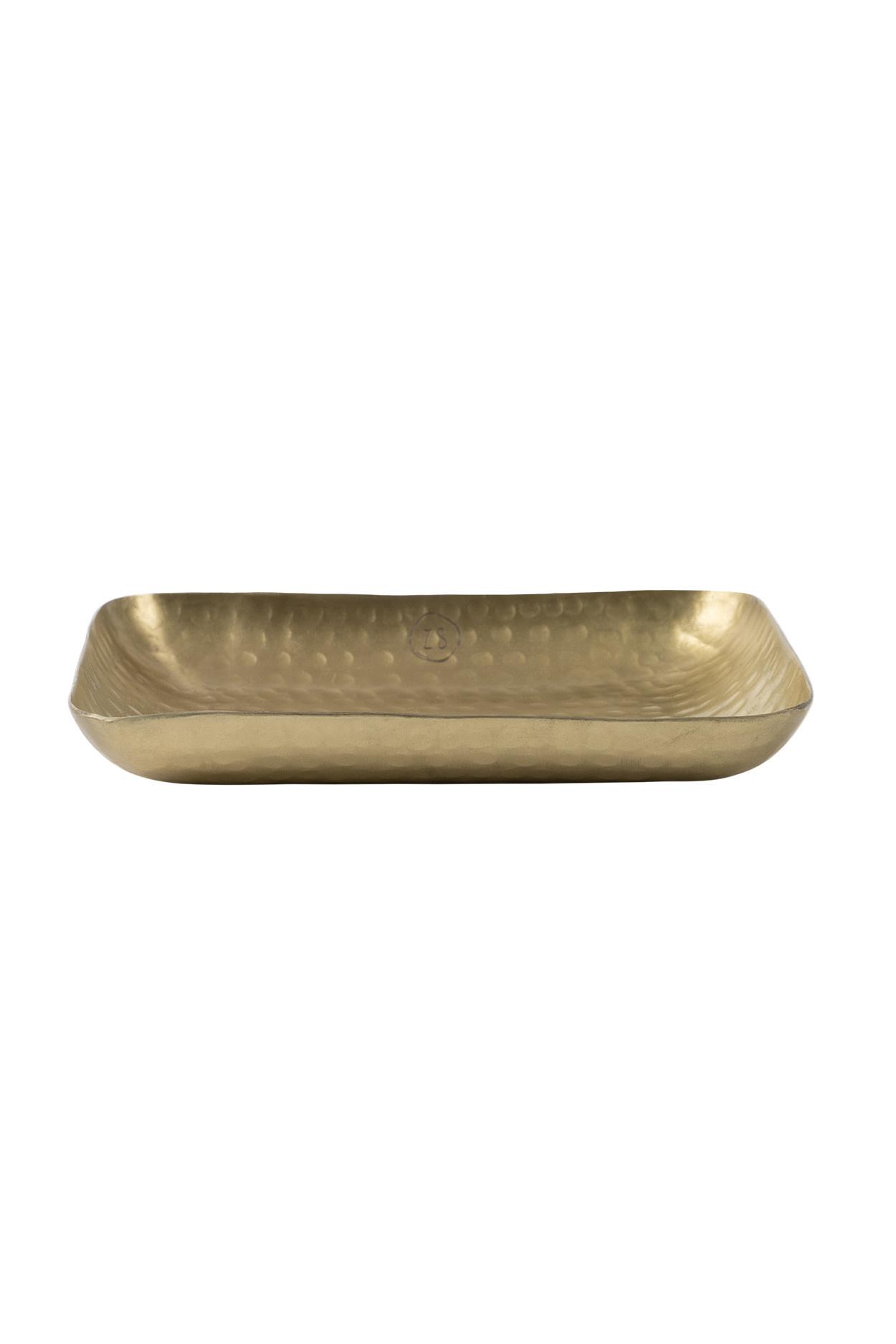 Zusss Schaaltje langwerpig metaal XS goud