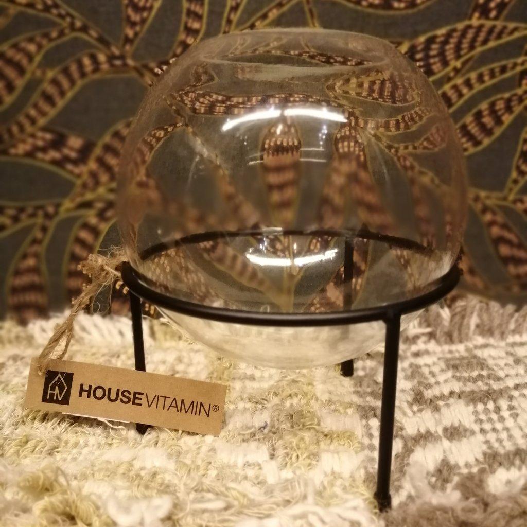 Housevitamin Vase with Black glass holder S