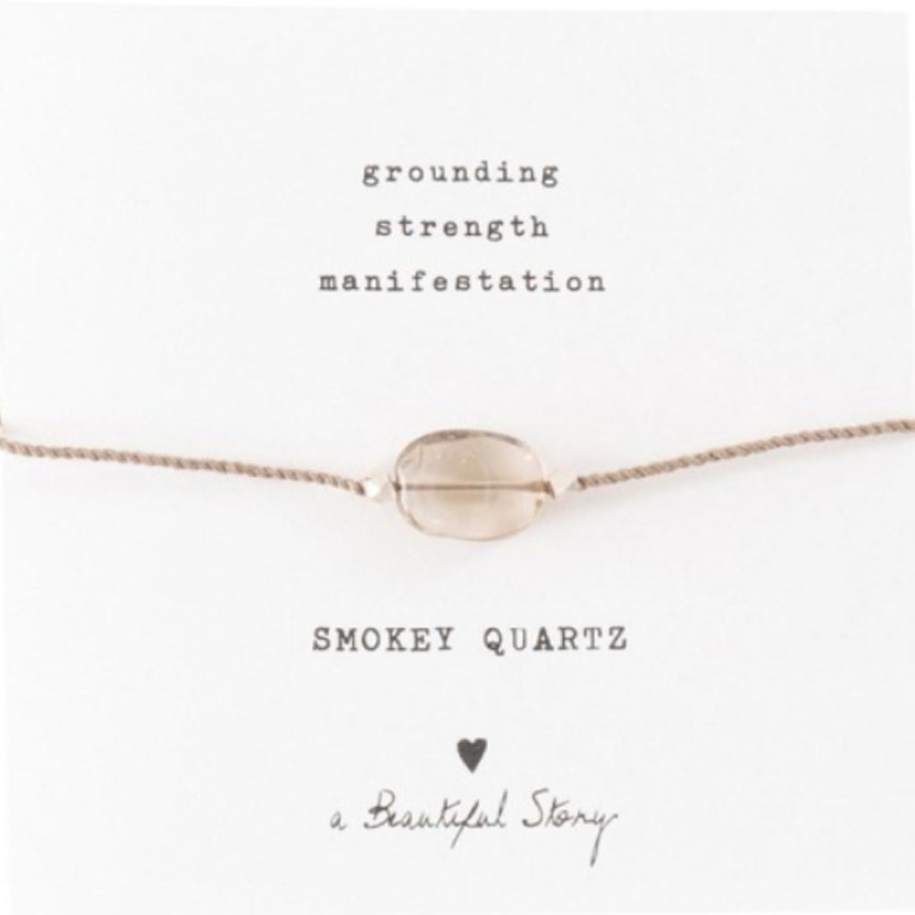 a Beautiful Story BL2314 - Edelsteen kaart Rookkwarts zilver armband