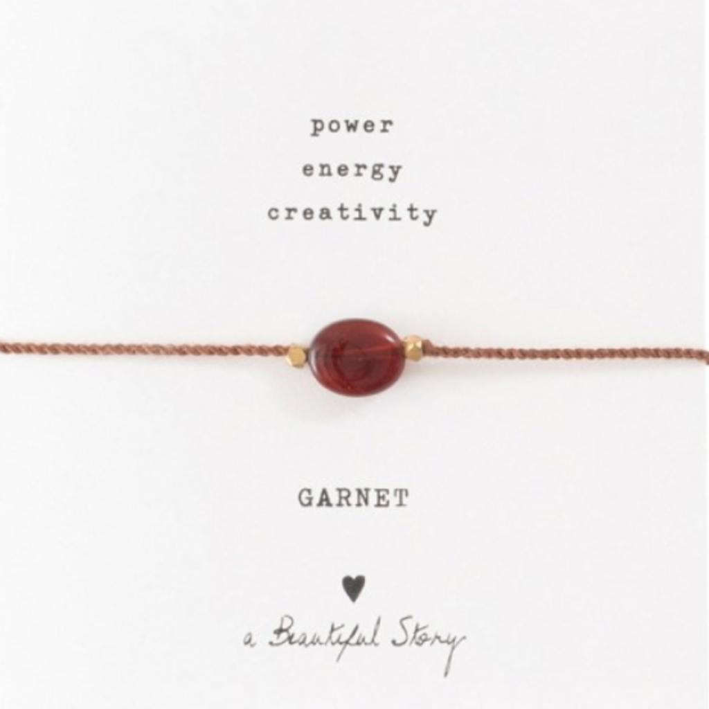 a Beautiful Story BL22974 - Edelsteen kaart Granaat goud armband