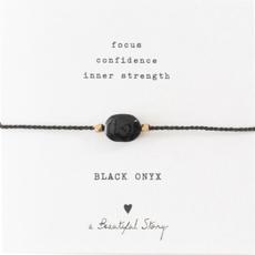 a Beautiful Story BL22474 - Edelsteen kaart Zwarte Onyx goud armband