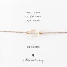 a Beautiful Story BL2304 - Edelsteen kaart Citrien goud armband