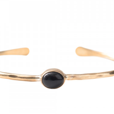 a Beautiful Story AW24329 - Moonlight Black Onyx goud armband
